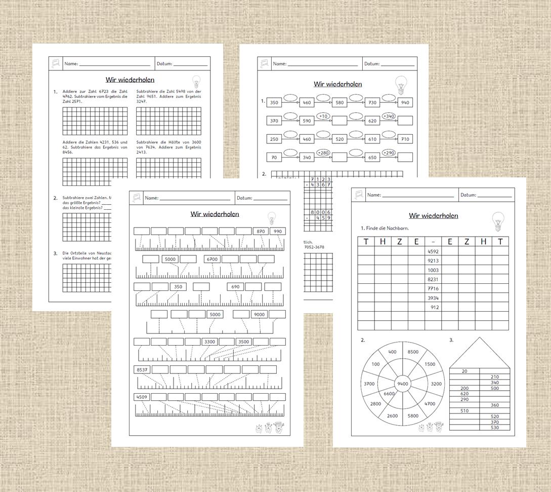 Mathe 4 Klasse  Arbeitsblätter und Unterrichtsmaterial