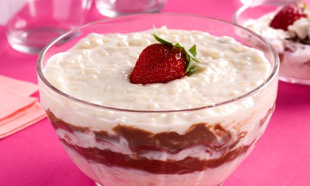 Receita de Creme de arroz com cream cheese e chocolate