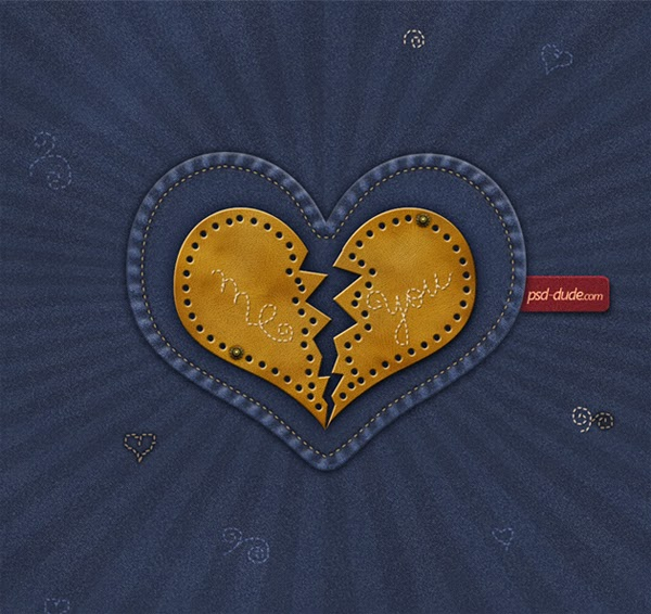 Wallpaper Valentine Photoshop dengan Tekstur Jeans.