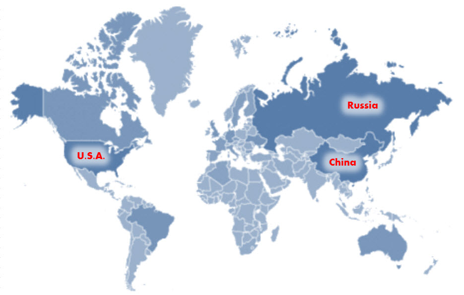 Triad of US, Russia and China Nuclear Superpowers pinioning the world