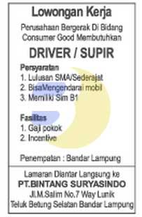 KARIR LAMPUNG: PT. Sorento Nusantara