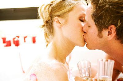 Romantic couple with kiss