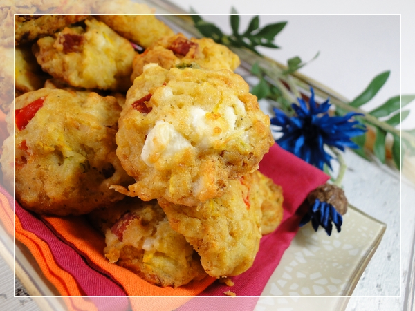 Cookies salés courgette, poivron et feta