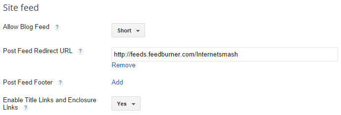 Setup Feedburner feed on blogger