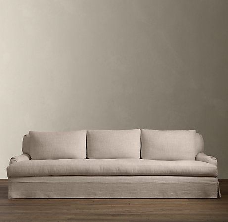 Belgian Classic Roll Arm Sofa In Sand Linen