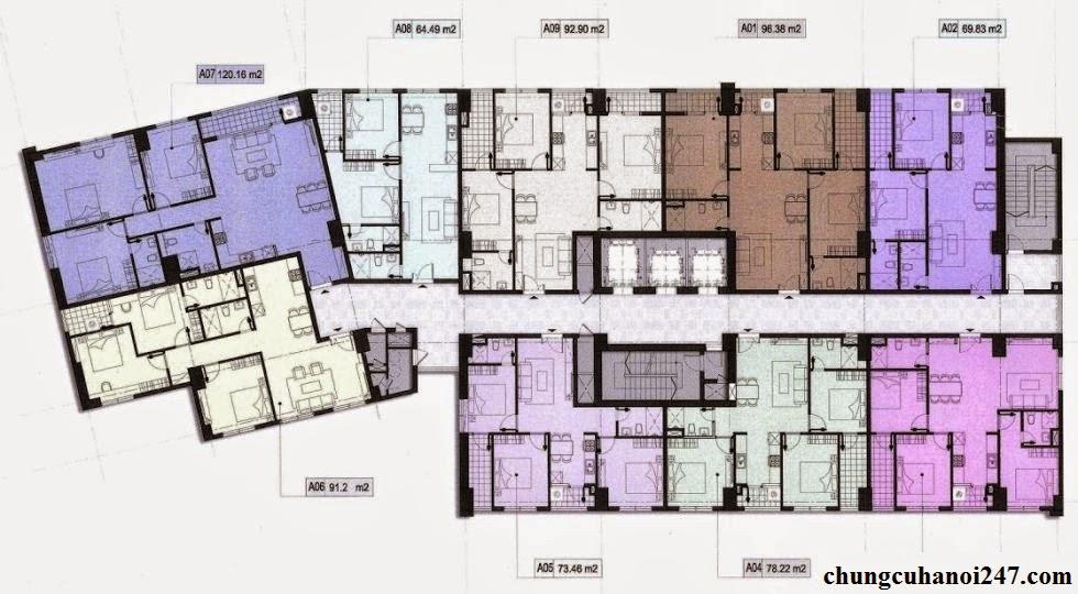 Thiết kế chi tiết mặt bằng căn hộ chung cư OCT5A Resco Cổ Nhuế