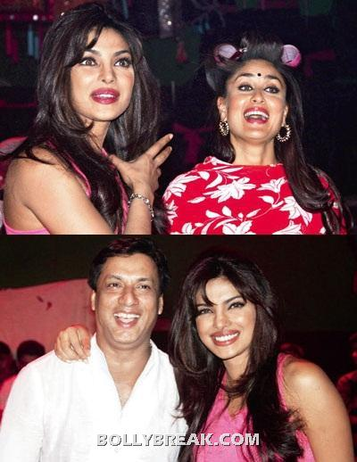 Priyanka Chopra with kareena kapoor and madhur bhandarkar -  Priyanka visiting Madhur and Kareena on the sets of Heroine