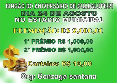 BINGÃO DE ANIVERSÁRIO DE GUADALUPE