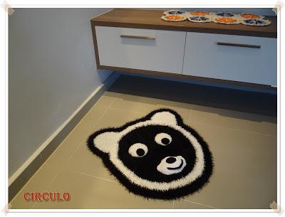 Tapete urso panda, tapete crochê bichinho, tapete ursinho Decore