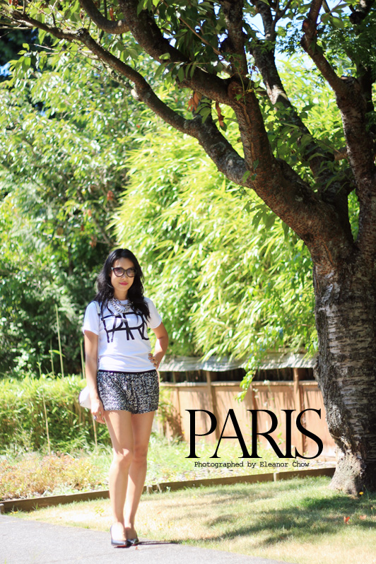 ASOS boyfriend t-shirt with Paris print, Zara sequin shorts, Christian Louboutin black pumps, HRH Collection Silver Cuff necklace, Marc by Marc Jacobs cat eye sunglasses, MAC Candy Yum Yum lipstick, graphic tee