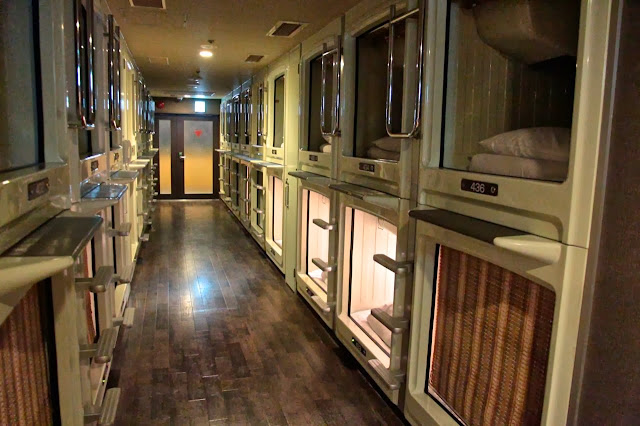 staying in a capsule hotel in japan