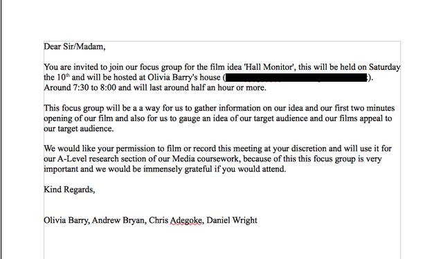 MediaSheWrote Focus Group Invite Letter