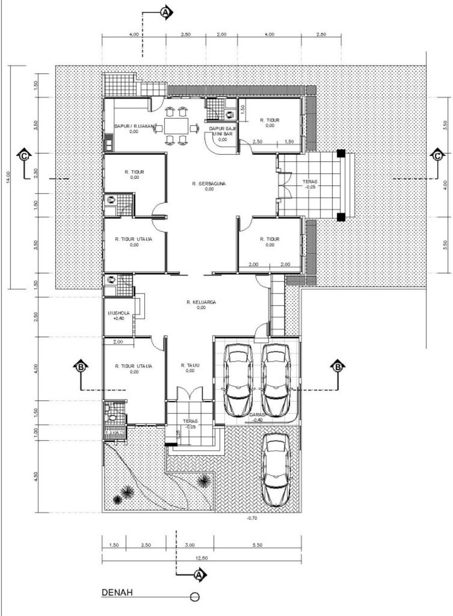 contoh denah rumah 1 lantai yang bagus