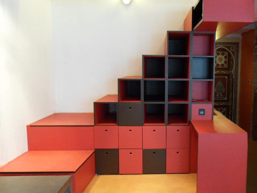 ... Crer Un Meuble De Rangement En Mme Temps Quuun Escalier Design Et  Luintgrer Compltement Votre Salon Ou Salle Manger With Creer Un Escalier  Interieur
