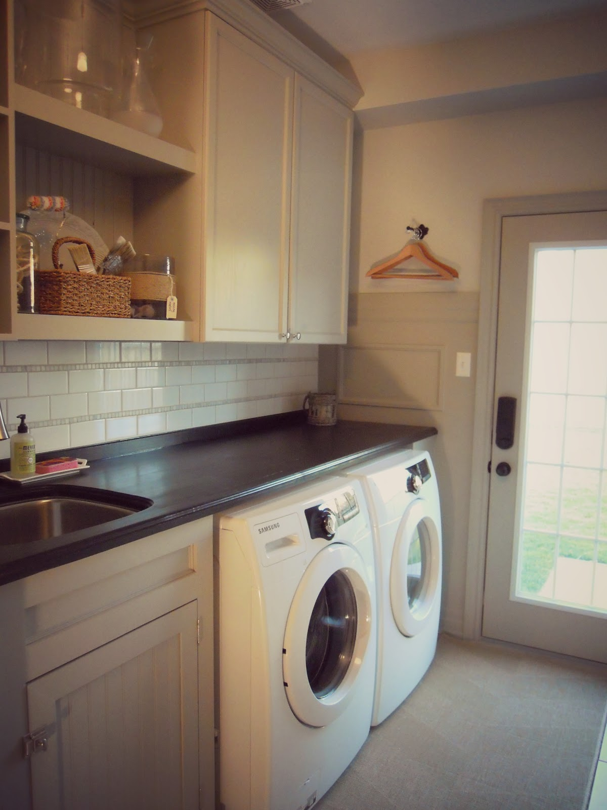 White Wood Completed Laundry Room