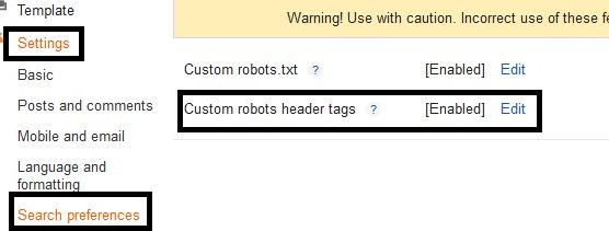 header tag setting