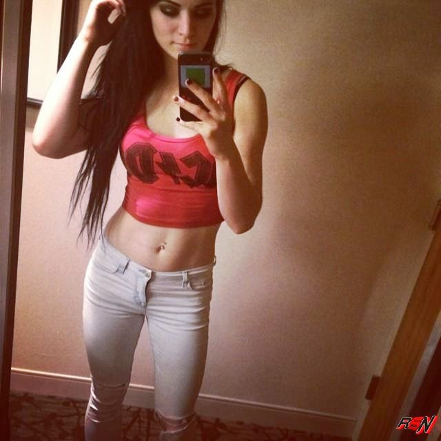Paige Showing Off Her Stomach.