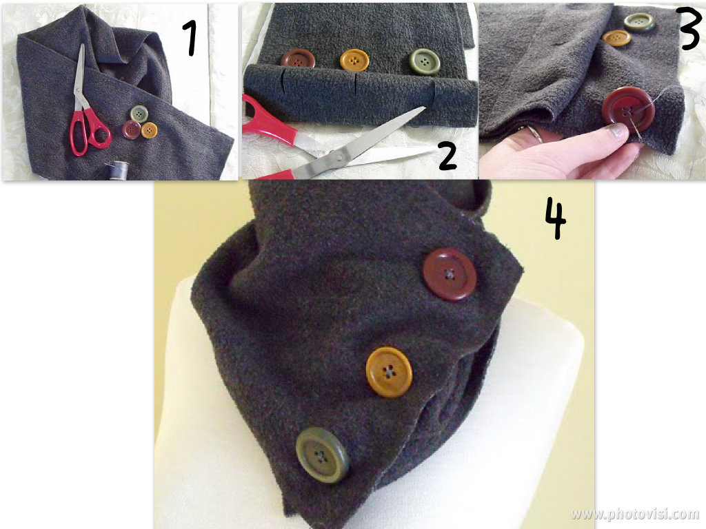 Diy try at home 2 scarf with buttons diy solutioingenieria Images