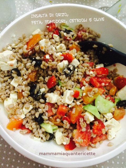 insalata di orzo, feta, pomodori, cetrioli e olive nere