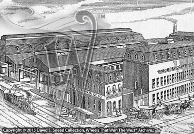 This historic cut shows a portion of the Philadelphia workshops of the Knickerbocker Ice Company.