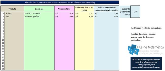Planilha de orçamento e desconto no Excel