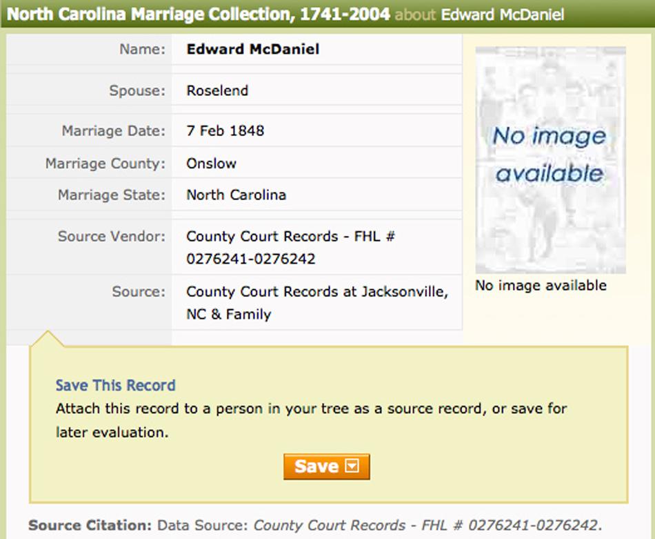 Barber License : Edward McDaniel & Roselender Barber marriage license, February 7, 1848 ...