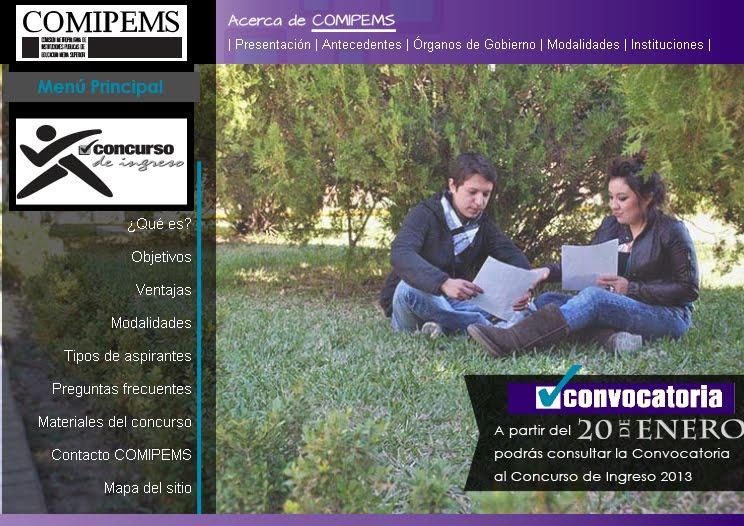 Convocatoria COMIPEMS 2013 Bachillerato publicacion registro 20 de Enero