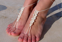 White With Pearls Crochet Barefoot Sandals