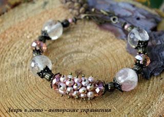 браслет из жемчуга, розовый браслет, летний браслет