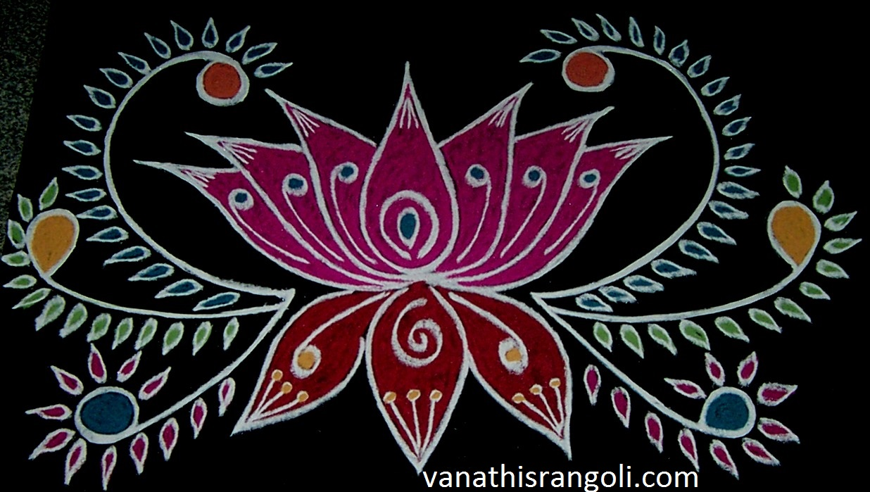 Vanathi 39 s rangoli art crafts lotus rangoli design for Door rangoli design images