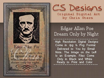 Edgar Allan Poe Dream digi stamp