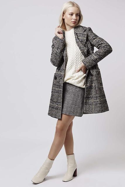 topshop grey check coat, double breasted grey coat, tweed coat,