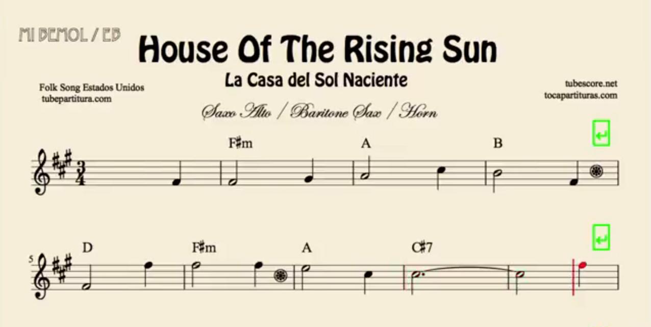 La Casa del Sol Naciente Partitura de Flauta, Violín, Saxofón Alto, Trompeta, Viola, Oboe, Clarinete, Saxo Tenor, Soprano Sax, Trombón, Fliscorno, chelo, Fagot, Barítono, Bombardino, Trompa o corno, Tuba... Sheets House of the Rising Sun