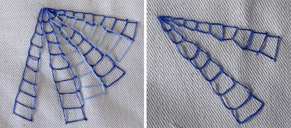 stitch, spider net, open chain stitchm roman chain stitch, impressive stitches, effect stitches