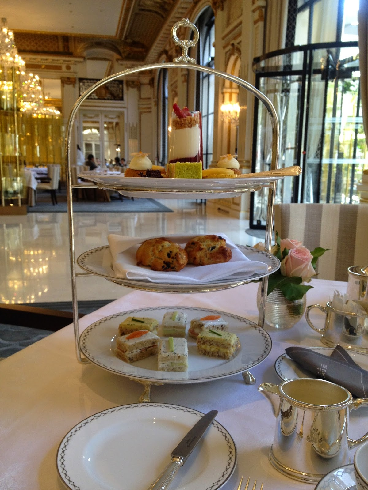 Selection of desserts, sandwiches and scones at The Lobby, Peninsula Paris