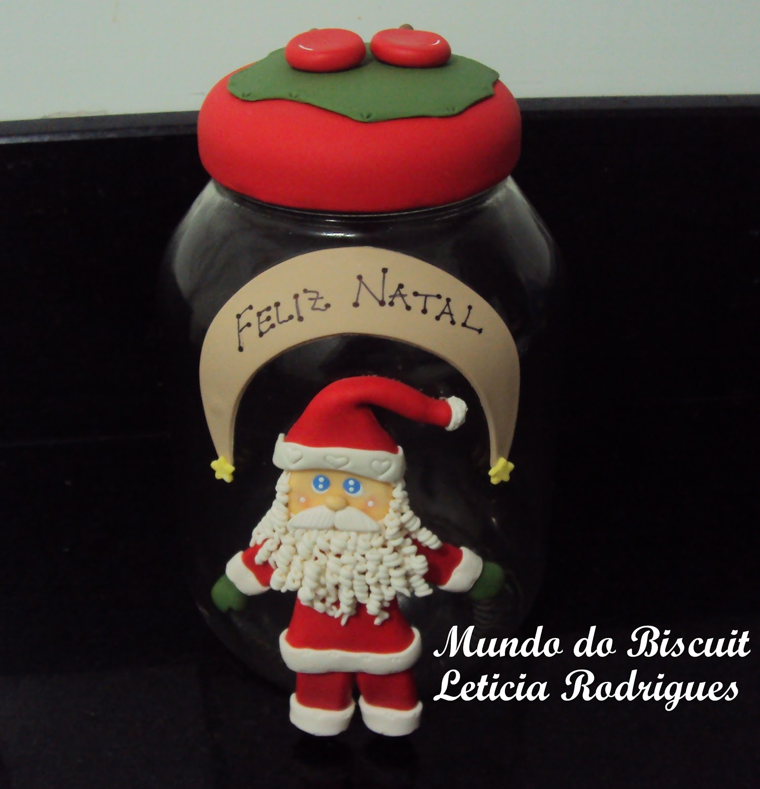 #A82326 Mundo do Biscuit Leticia Rodrigues: Vidro de Natal de Biscuit 194 Janelas De Vidro Natal
