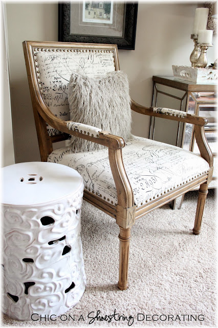Chic on a Shoestring Decorating blog, Marais Arm Chair, document script fabric