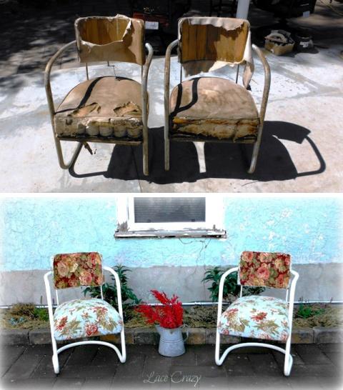 Vintage Patio Chair Redo. - Lace Crazy: Vintage Patio Chair Redo...