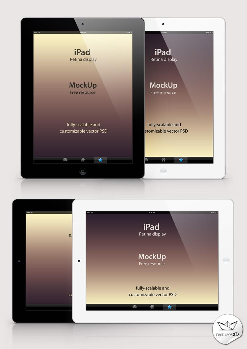 Plantilla PSD de iPad Pantalla Retina (iPad Retina Display PSD ...