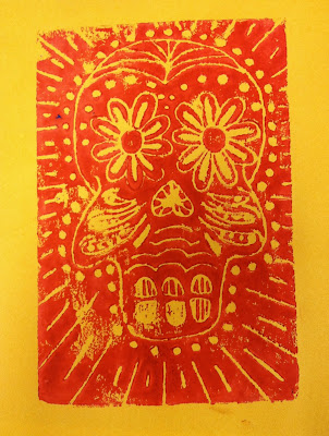 Fourth Grade Day of the Dead Foam Printing Skulls