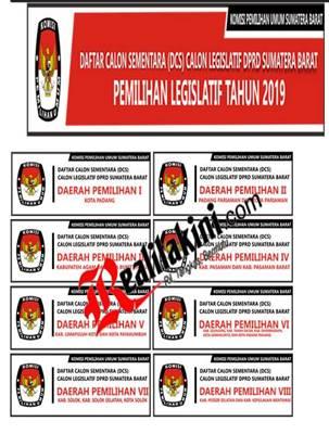 daftar sementara calon DPRD sumbar