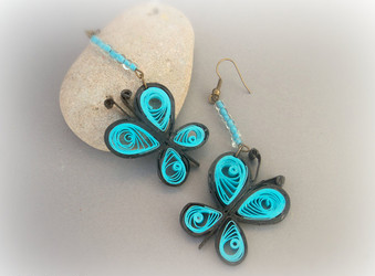 Quilling Earrings Basic Designs : Cute Butterfly model quilling earring designs 2015 - Quilling designs