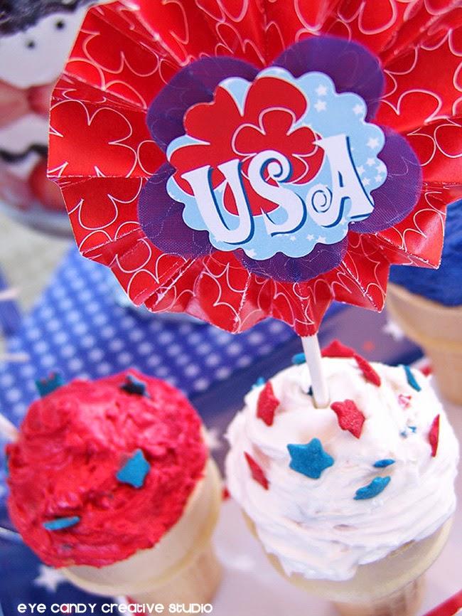 ice cream cone cupcakes, americana, memorial day dessert idea