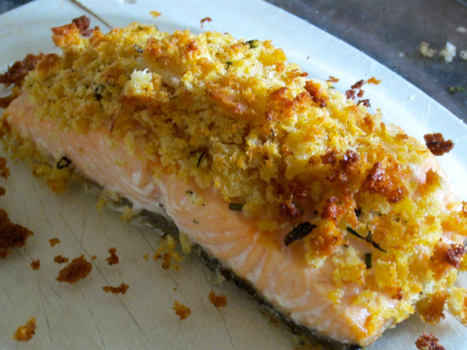 Herb Crusted Salmon - serves 2 adults, my son had an adult portion ...