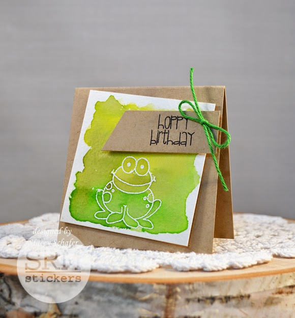 SRM Stickers Blog - Watercolored Spring Mini Cards by Stacey - #minicards #cardsets #giftset #watercolors #clearstamps #janesdoodles #embossedkraftbogs #solidtwine #DIY