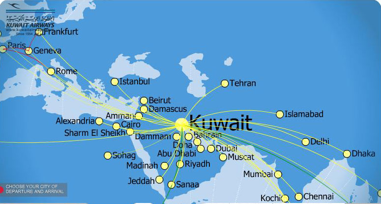 Kuwait Airways routes map | Design Plane