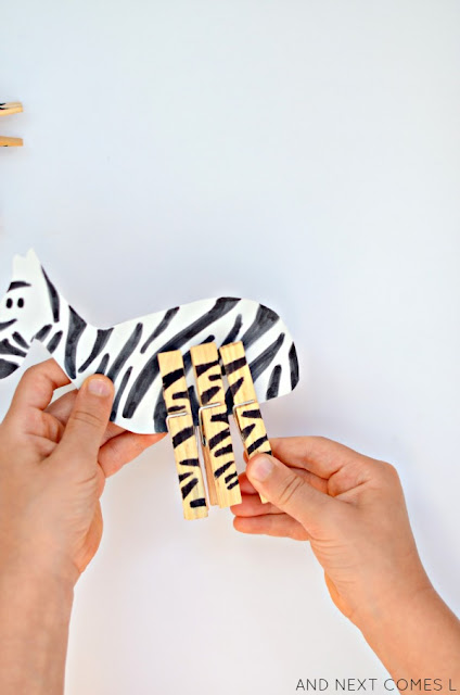 Fine motor mix & match animals busy bag idea for kids from And Next Comes L