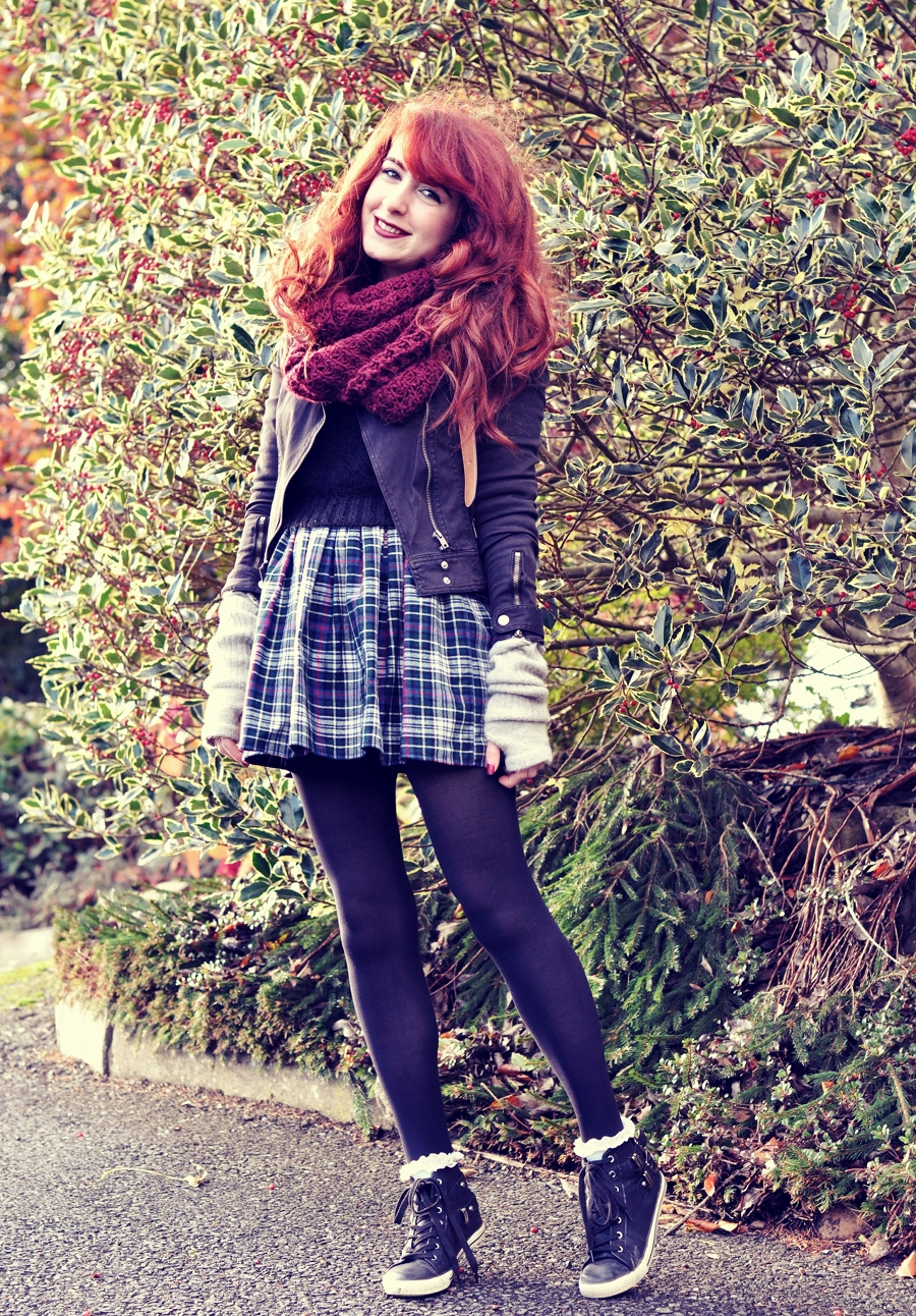 Plaid Skirt, Cropped Jumper and Biker Jacket