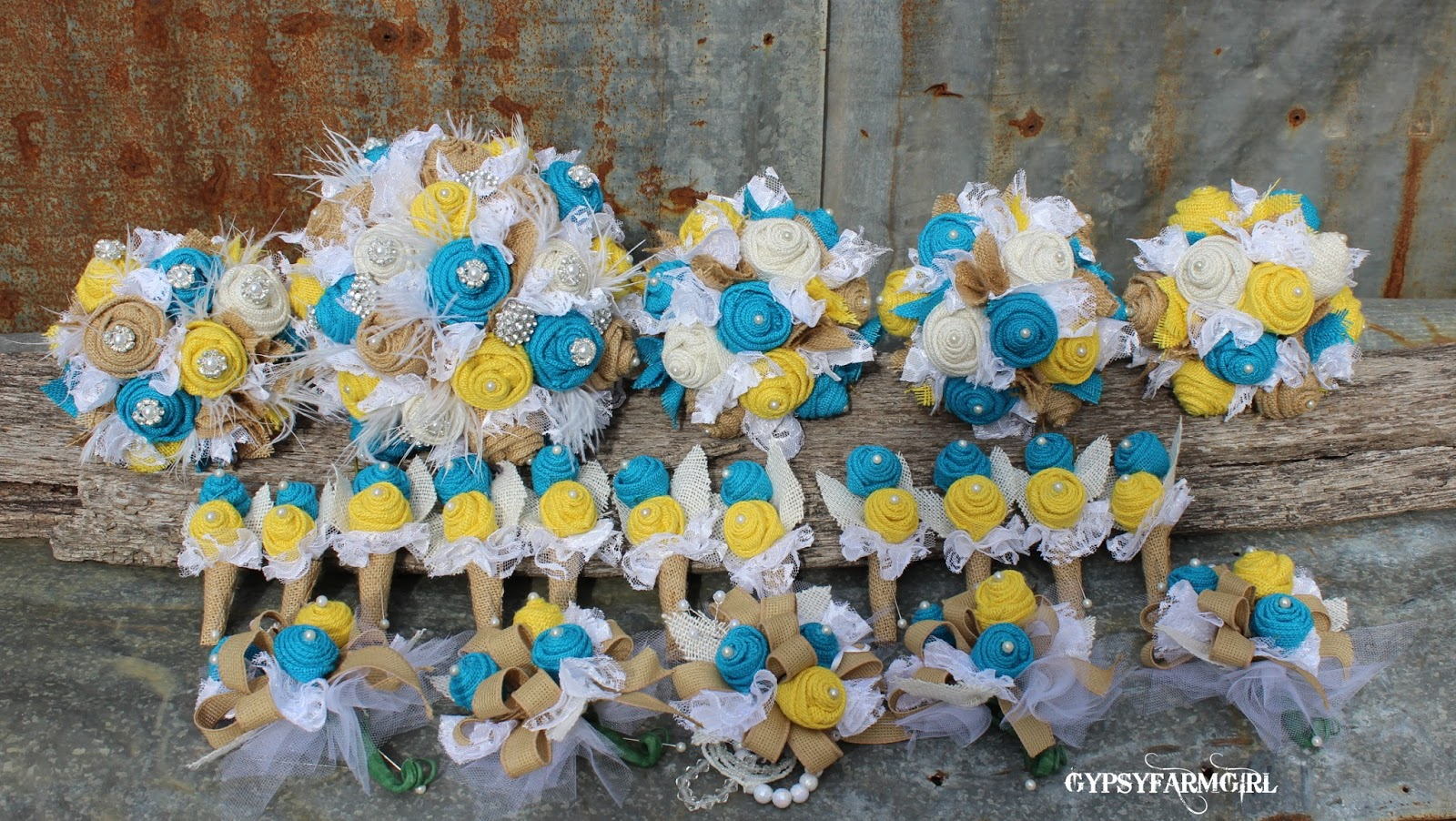 burlap wedding bouquets
