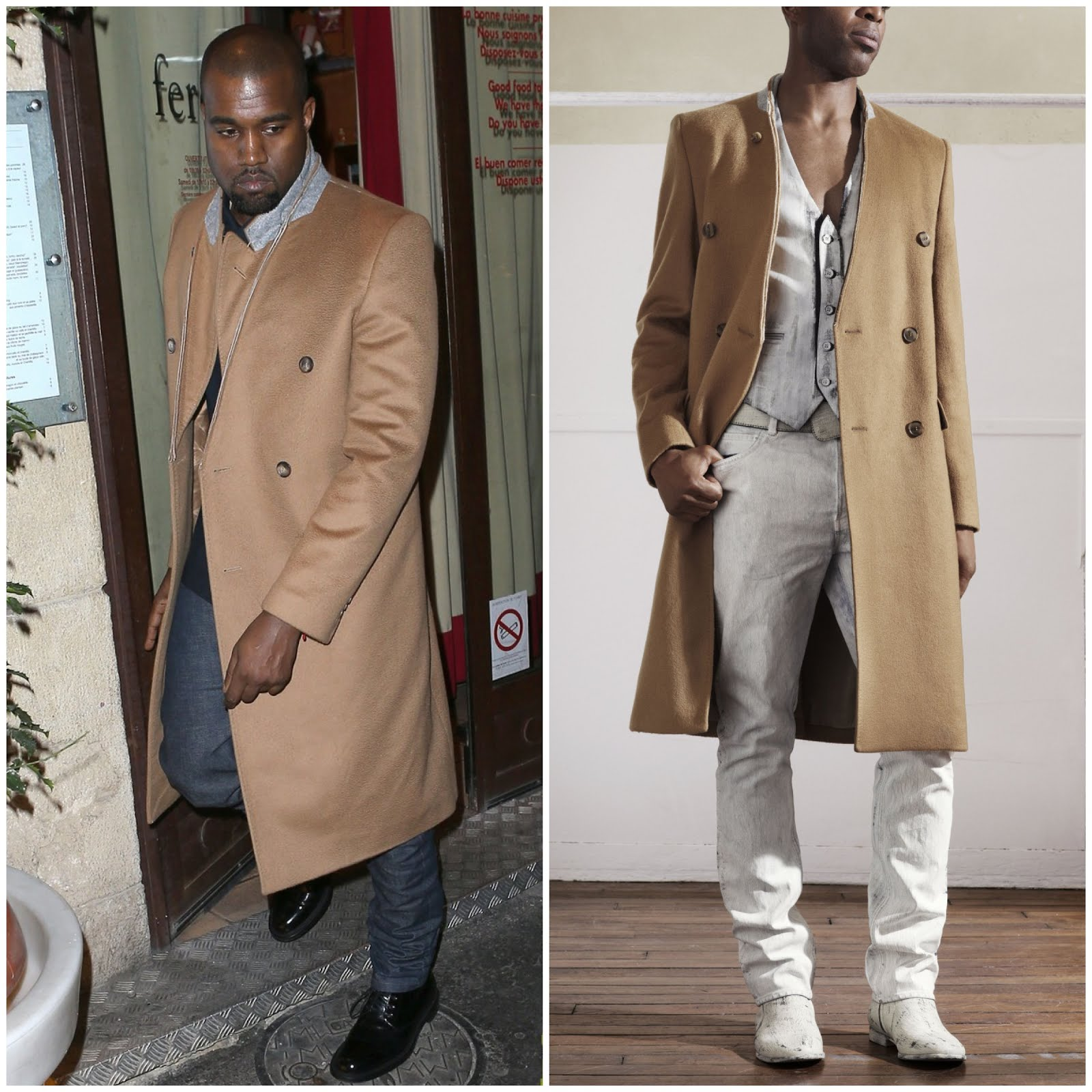 00O00 Menswear Blog Kanye West in Maison Martin Margiela x H&M - Out and about in Paris April 2013